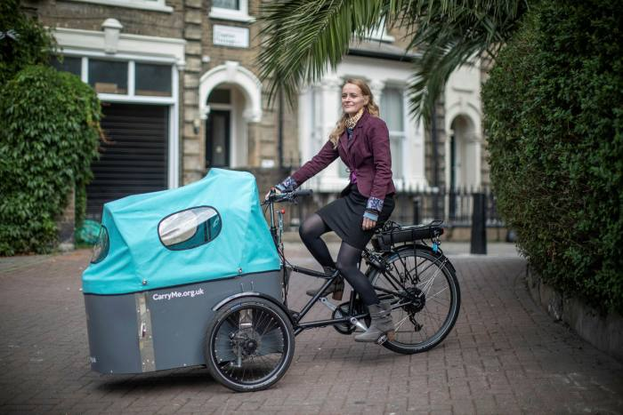 Alix Stredwick, founding director of CarryMe Bikes, on one of its new cargo bikes