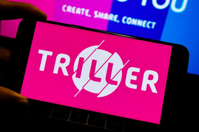 The Triller logo on a smartphone
