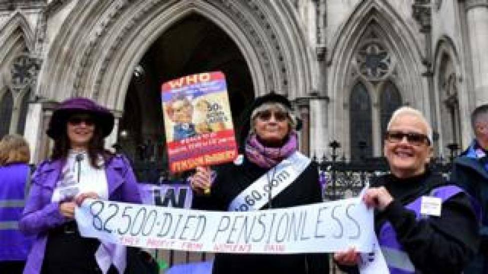 Protestors outside court