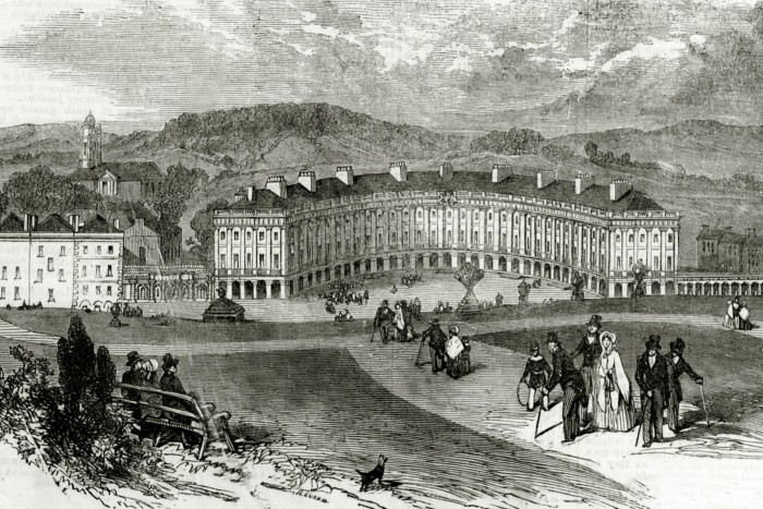 An image of the Crescent from the Illustrated London News in 1854, when Buxton continued to prosper. By 1905, the town's hotels and lodging houses were serving some 4,000 visitors a week