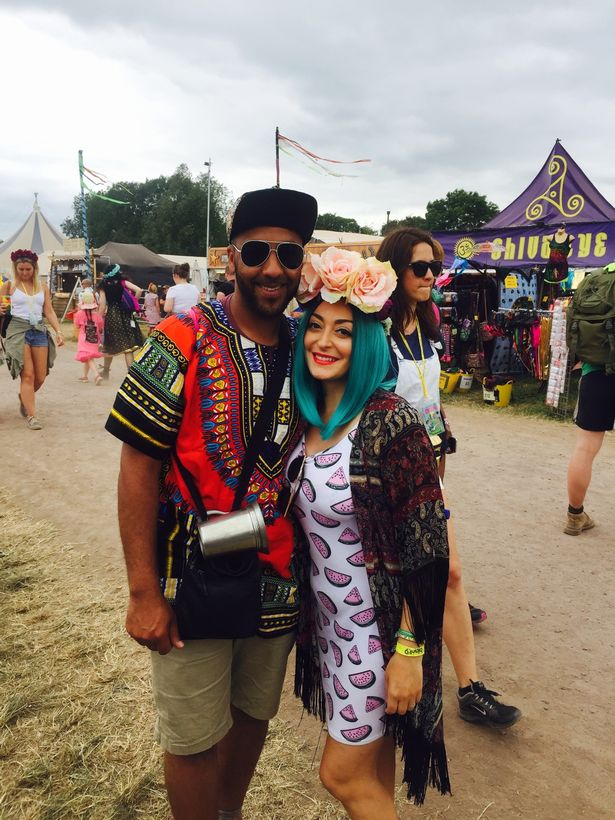 At Glastonbury with husband Matthew a day before cancer treatment started