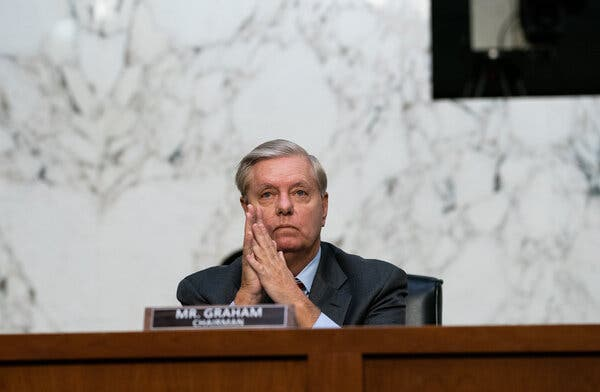 Senate Judiciary Committee Chairman Lindsey Graham at the fourth day of the confirmation hearing for Judge Amy Coney Barrett.