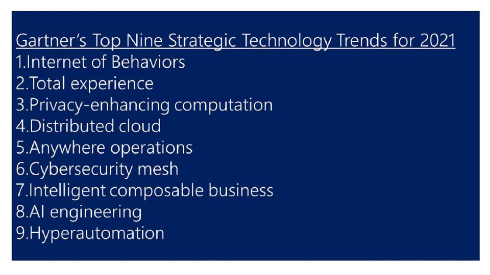 Gartner's Top Nine Strategic Technology Trends for 2021