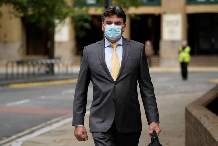 Dominic Chappell arriving at court in London on October 7