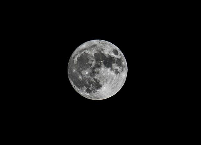 Full moon on black sky