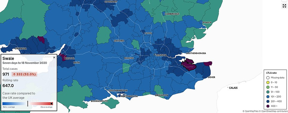 Swale and Thanet, highlighted in deep purple, have the highest infection rates in the South East – a region which was left relatively untouched during the early stages of England's second wave