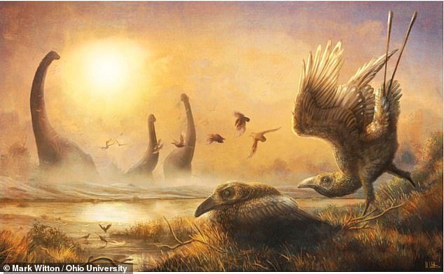 Pictured, an illustration depicting the early bird Falcatakely amidst nonavian dinosaurs and other creatures during the Late Cretaceous in Madagascar