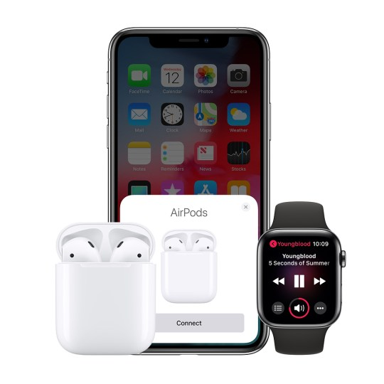 AirPods next to an iPhone and Apple Watch