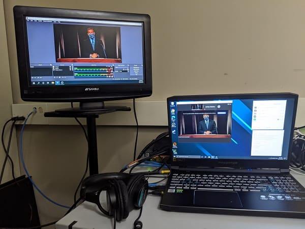 Main streaming computer viewpoint of President Sandoval hosting the 2020 Virtual Homecoming Alumni Awards Celebration.
