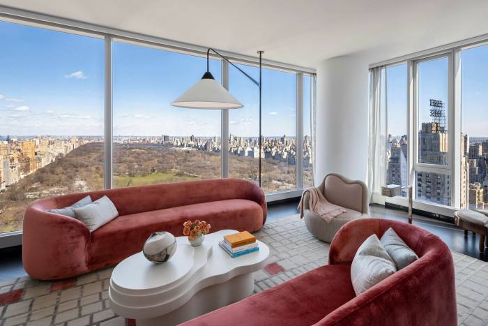 A three-bedroom, $17.5m condo on the 43rd floor of Central Park Tower, a 1,550ft 'dagger in the skyline', with most of its 179 units unsold