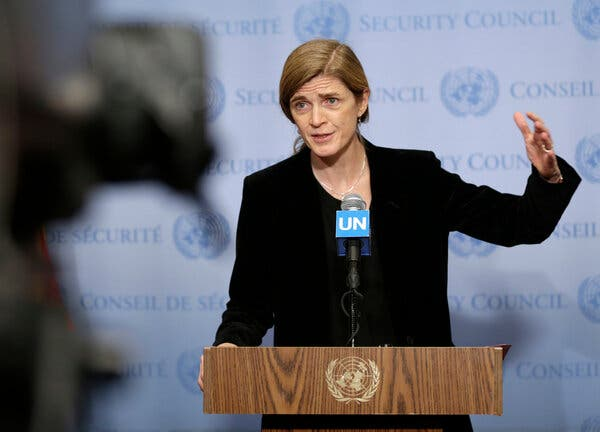 Samantha Power was the U.S. ambassador to the United Nations in 2016. President-elect Joe Biden will nominate Ms. Power as the head of the United States Agency for International Development.