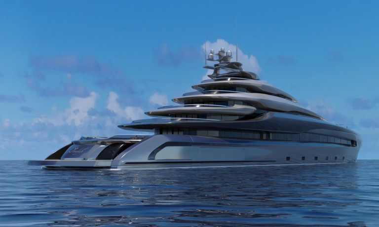 Concept designs have been unveiled for a stunning megayacht which comes complete with its own beach club, pool and helipad. The 394ft vessel has been called Indah meaning beautiful one in Indonesian and boast patented design features, including rotating transom bulkheads that expand outward to create extra decking. These moving decks are then raised to level with the swim platform in order to create a sprawling beach club. The designs come from Opalinski Design House. The yacht can accommodate a 32-strong crew and 24 guests, with 12 stunningly decorated cabins. The main suite comes with its own dedicated aft deck balcony. Indah the cost of which has not yet been revealed is being dubbed a true ocean-going vessel, and can sail at a top speed of 24 knots with a range of 7,000 nautical miles. There are also eco-friendly touches in the plans, with solar-generating surfaces and wind turbines to produce its own green energy onboard. A spokesperson for Opalinski Design House said of the design: The original concept of fold-down bulkheads was conceived to create more usable space at the water level so when anchored the guests can immerse themselves with surrounding waters, nature and wildlife at a much larger space than, just a relatively small swim platform. Space that can be used for all outdoor activities from sunbathing, through various water sports, fishing, dining, and many more. Opalinski Design House was founded by Lukasz J Opalinski back in 2007 and is based in South Florida. 13 Jan 2021 Pictured: Concept designs have been unveiled by Opalinski Design House for a stunning megayacht which comes complete with its own beach club, pool and helipad. Photo credit: Opalinski Design House/ MEGA TheMegaAgency.com +1 888 505 6342