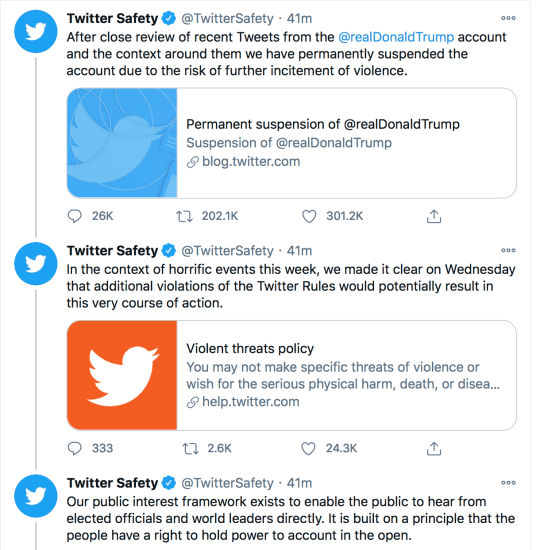 Twitter announced they have banned Trump from the platform (Twitter)