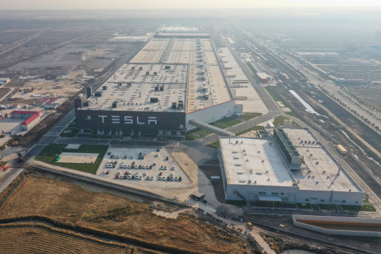The Tesla Gigafactory in Shanghai pictured from an aerial view in December 2019 (Picture: SIPA USA/PA Images)