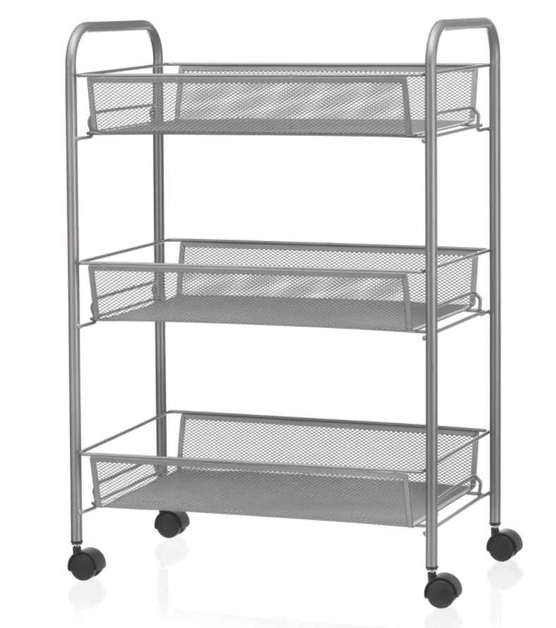Get this grey mesh rolling storage trolley now for just £20