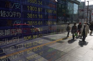 A stock market indicator board in Tokyo, Japan, today