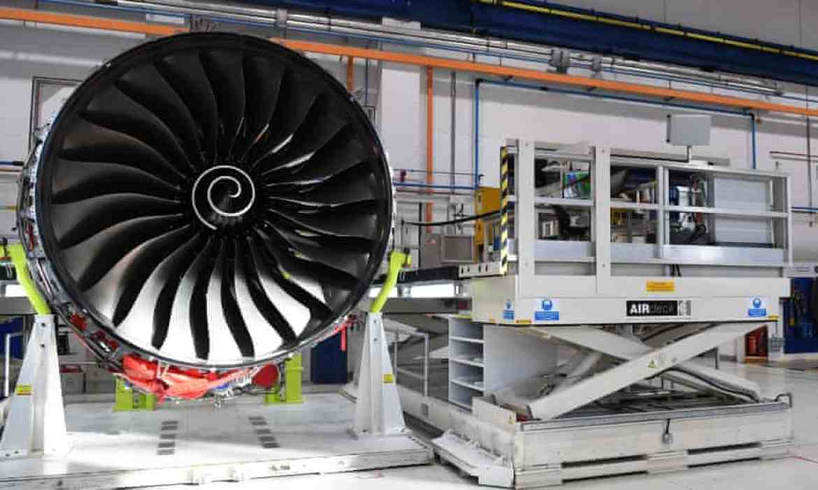 A Royce Trent XWB engines on the assembly line at Rolls-Royce's factory in Derby.