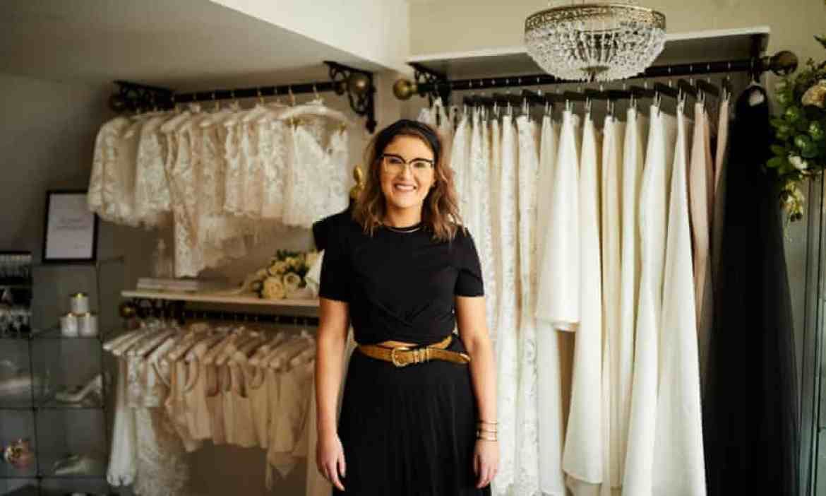 Stephanie Moran at her bridal boutique in Tadcaster, North Yorkshire.