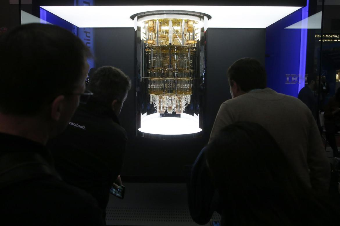 An IBM quantum computer on display at the Consumer Electronics Show.