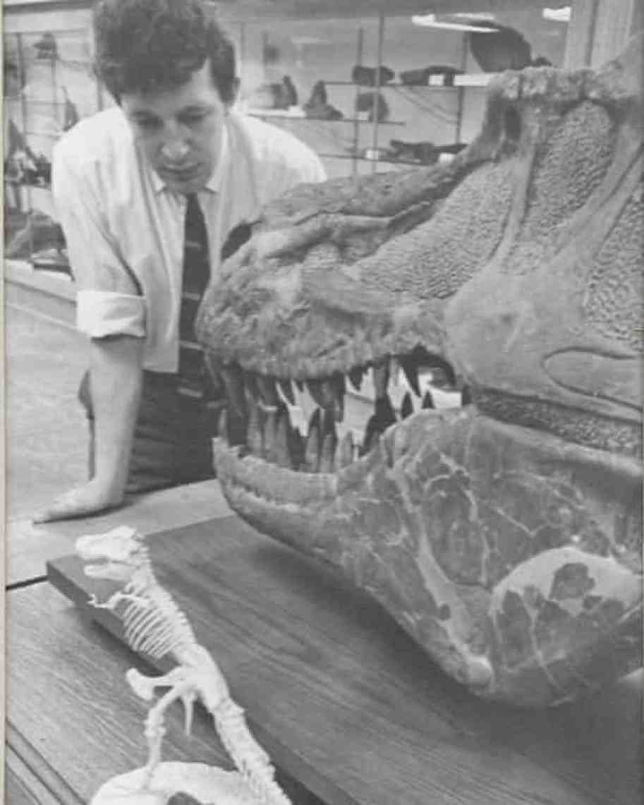 Brian Gardiner in the early 1960s examining a Canadian dinosaur