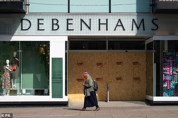 Experts are calling for an extension of the business rates holiday as new figures reveal the extent of job losses so far this year. Pictured: A boarded up Debenhams on Oxford Street