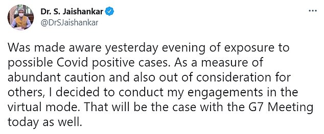 Indian foreign minister Subrahmanyam Jaishankar tweeted confirming the news today
