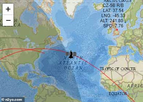 Position of the Long March 5B rocket, according to the N2YO satellite tracker, as of Wednesday morning (May 5)