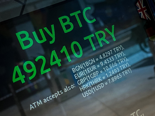 ISTANBUL, TURKEY - APRIL 16: A message offering cryptocurrency exchange rates is seen on the screen of a Bitcoin ATM installed at a shopping mall on April 16, 2021 in Istanbul, Turkey. Turkey's Central Bank announced a ban on the use of cryptocurrencies and crypto assets for purchases, directly or indirectly to pay for goods or services. The announcement comes as Turkey's crypto market has boomed over the past few years. As the Turkish Lira has slumped, many people have looked to cryptocurrencies to shelter against inflation. Cryptocurrencies gained traction globally this week after cryptocurrency exchange Coinbase launched on the New York Stock Exchange. (Photo by Chris McGrath/Getty Images)