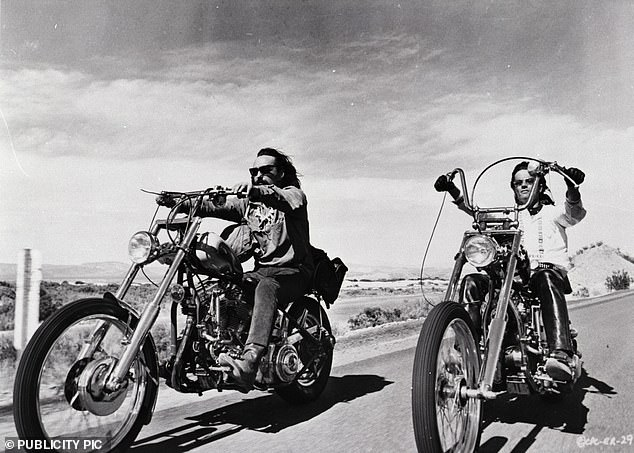 Easy Rider showcased the hippie movement and gave America an insight into the lives of those individuals who wander the highways on the back of a motorcycle and hence the bikes themselves became characters in the 1969 film. Peter Fonda, playing Wyatt, is pictured (right) on the set riding one of the two Captain America motorcycles. Dennis Hopper, playing Billy, pictured left