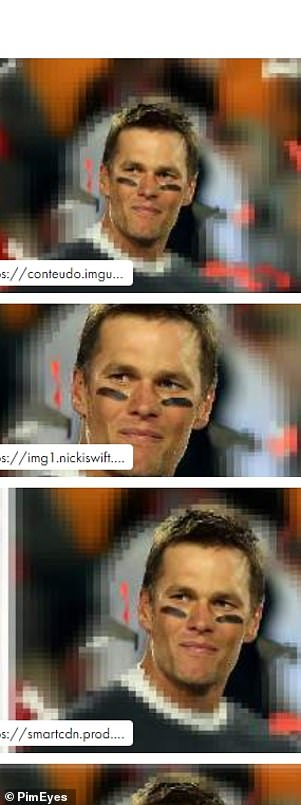 PimEye search results after the original photo of Brady was inputted into the software