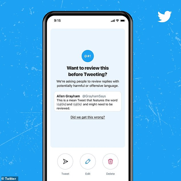 Screenshot of the new Twitter feature rolled out to iOS and Android earlier in May for English-speaking Twitter users. Upon typing out an expletive-strewn reply, Twitter users will see the pop-up, entitled 'Want to review this before tweeting?'