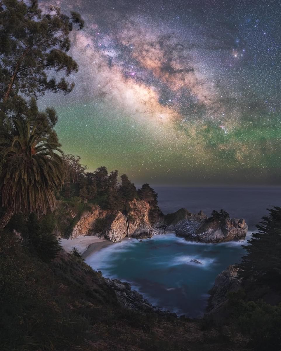 'Paradise'— by Marcin Zajac in California. Mr Zajac said: 'If I had to choose my favourite place on earth, this might be it. Located on the Pacific Coast near Big Sur, it really has everything: a beautiful cove filled with emerald waters, an 80ft waterfall that falls directly onto the beach, a palm tree that makes you feel like you're on a tropical island, and a perfectly dark sky that shines bright with stars at night'