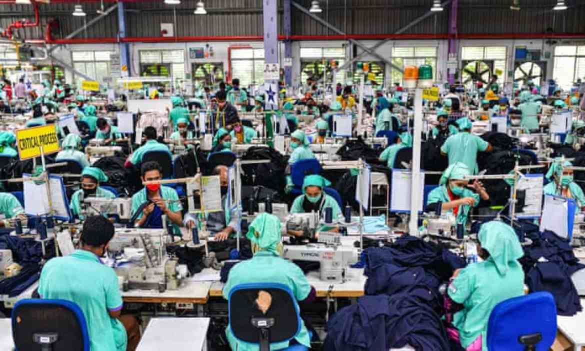 Workers in a clothes factory in Gazipur, Bangladesh.
