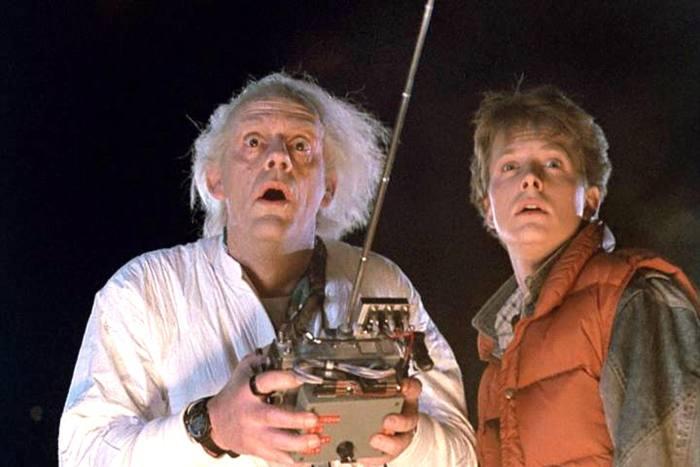 Dr Emmett Brown and Marty McFly from the film 'Back to the Future'