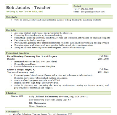 elementary teacher resume sample elementary teacher resume free