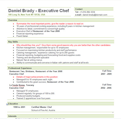 Sous Chef Resume Format. Resume For Chef Chef Resume Sample