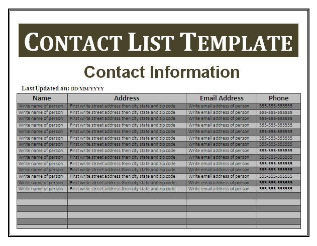 Contact List Template  Free Business Templates