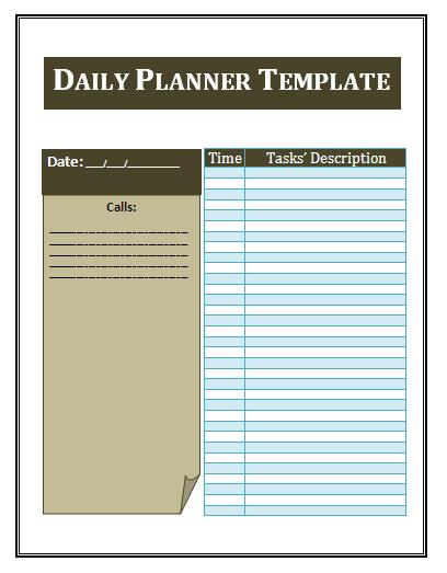 Template Daily Planner daily planner template 16 free word excel – Microsoft Daily Planner