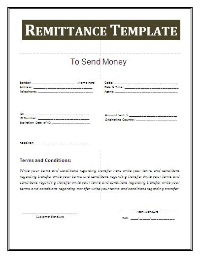 Remittance Template | Free Business Templates