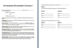 Dealership Contract Template