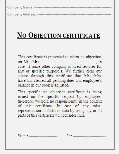 Sample no objection letter certificate noc 1 employment certificate sample of noc letter spiritdancerdesigns Choice Image