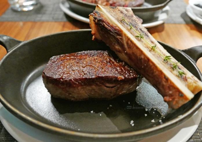 Toronto Jacobs & Co. Steakhouse perfect dinner date medium rare steak Canadian Prime Angus Striploin from Prince Edward Island Striploin