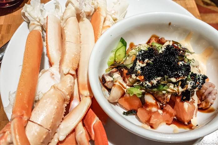 Las Vegas Travel Hack Using myVEGAS Rewards and Hotel Comps Complimentary Dinner Buffet at The Buffet, Aria Poke Bowl Crab Legs