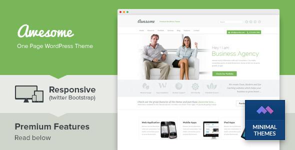 Awesome – One Page Business Portfolio WordPress Theme v1.4
