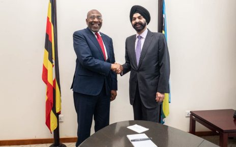 Ajay Banga, President and CEO of Mastercard with Dr. Ruhakana Rugunda, Prime Minister, Republic of Uganda