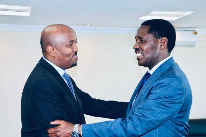 Somaliland envoy to Kenya Bashe Awil Omar and Minister for Trade and Industrialisation Peter Munya when the two met at the trade ministry offices in Nairobi last week. Somaliland is hosting a major investment conference in Nairobi on Friday.