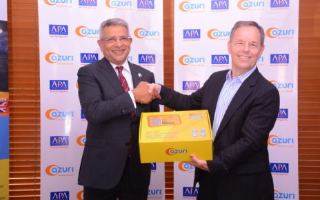 Apollo Group CEO, Ashok Shah (left) with Azuri CEO Simon Bransfield-Garth at the official launch of HospiCash, an affordable income insurance and funeral cover for off-grid consumers, made possible through the Azuri and APA partnership announced today in Nairobi.