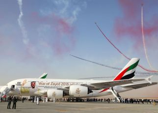 the airline will showcase its 100th A380, which is emblazoned with the HH Sheikh Zayed decal as a tribute to the late founding father of the United Arab Emirates
