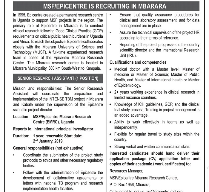 Epicentre is recruiting in Mbarara
