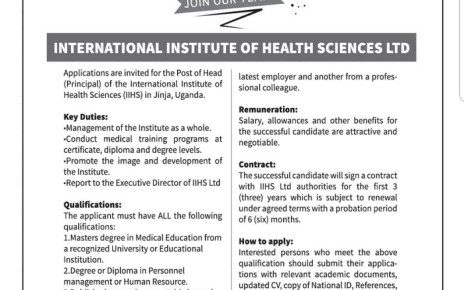 International Institute of Health Science in Jinja looking for Principal